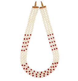 3 String Ruby Pearl Necklace