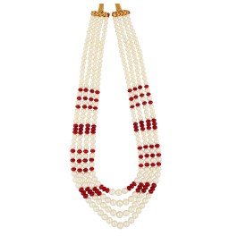 4 String Ruby Pearl Necklace