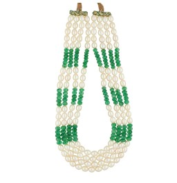 4 String Emerald Pearl Necklace