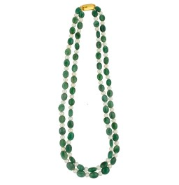 2 String Emerald Pearl Necklace