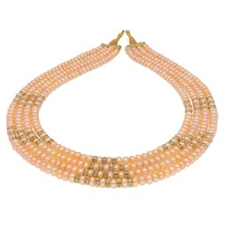 4 String Peach Pearl Necklace