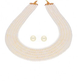 5 Lines Button Pearl Necklace