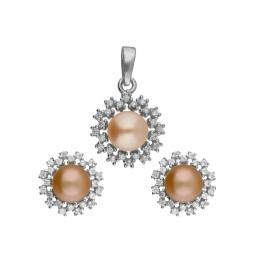 Aoura 92.5 Silver Pearl Pendant Set