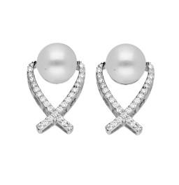 92.5 Silver White Pearl Earrings