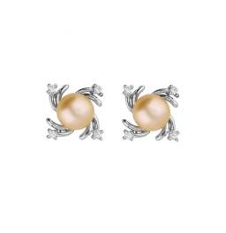 92.5 Silver Pretty Pink Pearl Studs