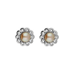 92.5 Silver Flower Pink Pearl Studs