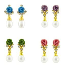 Multi Coloured Rose Pearl Earrings