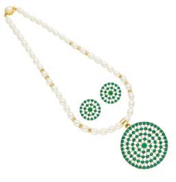 Circular Pearl Pendant Set