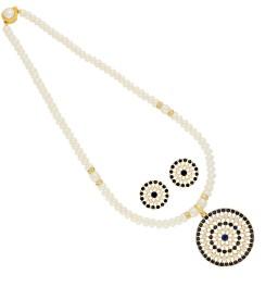 Circular Cz Pearl Pendant Set