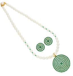 Green Circular Shape Pearl...
