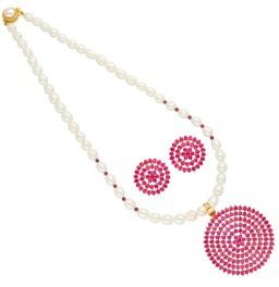 Red Circular Shape Pearl Pendant...