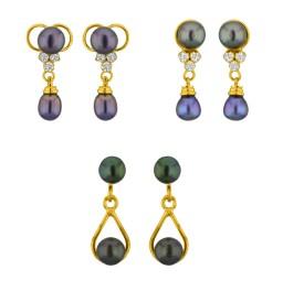 Grey Pearl set of 3 Earrings