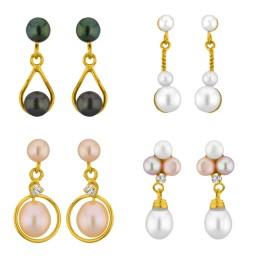 Set of 4 Pearl Earrings Combo