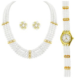 Royal Pearl Necklace With Watch