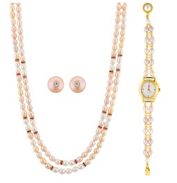 2 Line Necklace Set With Watch