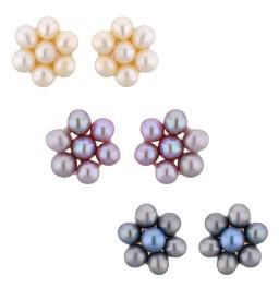 Set Of 3 Pair Pearl Earrings