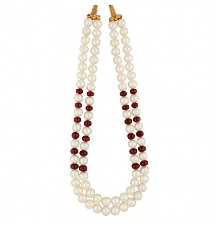 2 string pearls and ruby necklace
